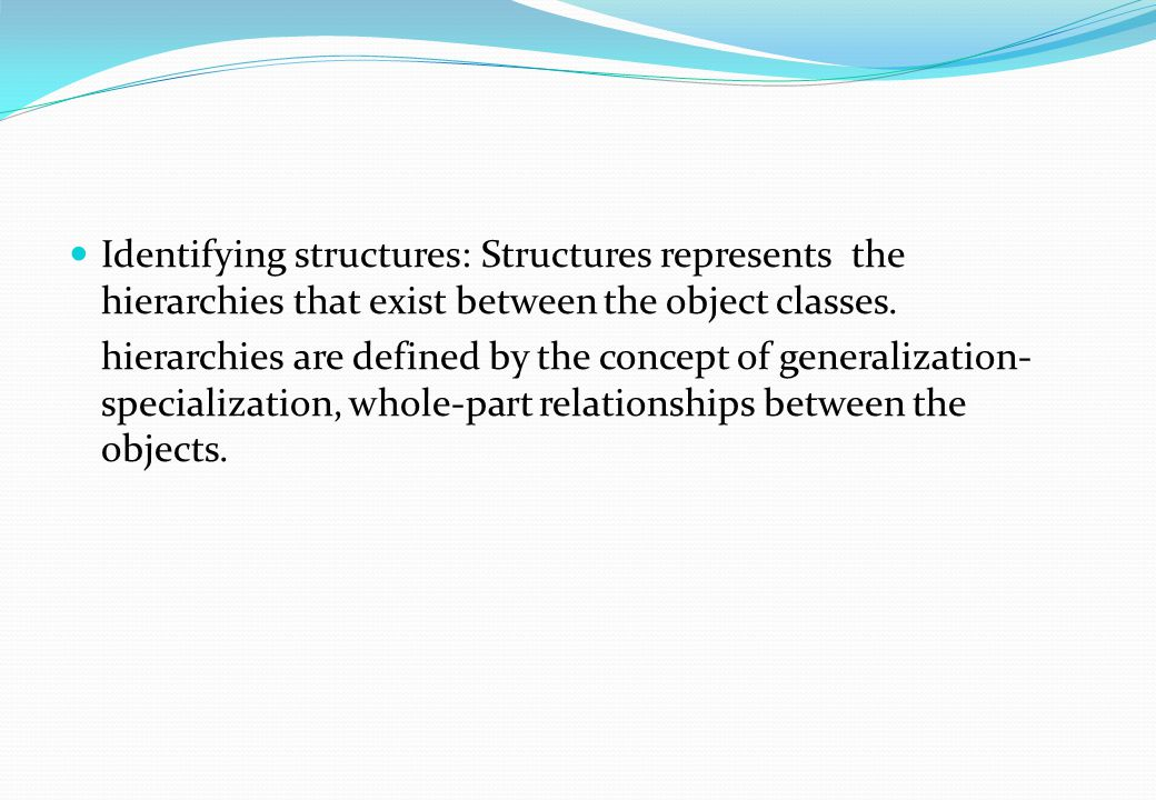 Identifying structures: Structures represents the hierarchies that exist between the object classes.