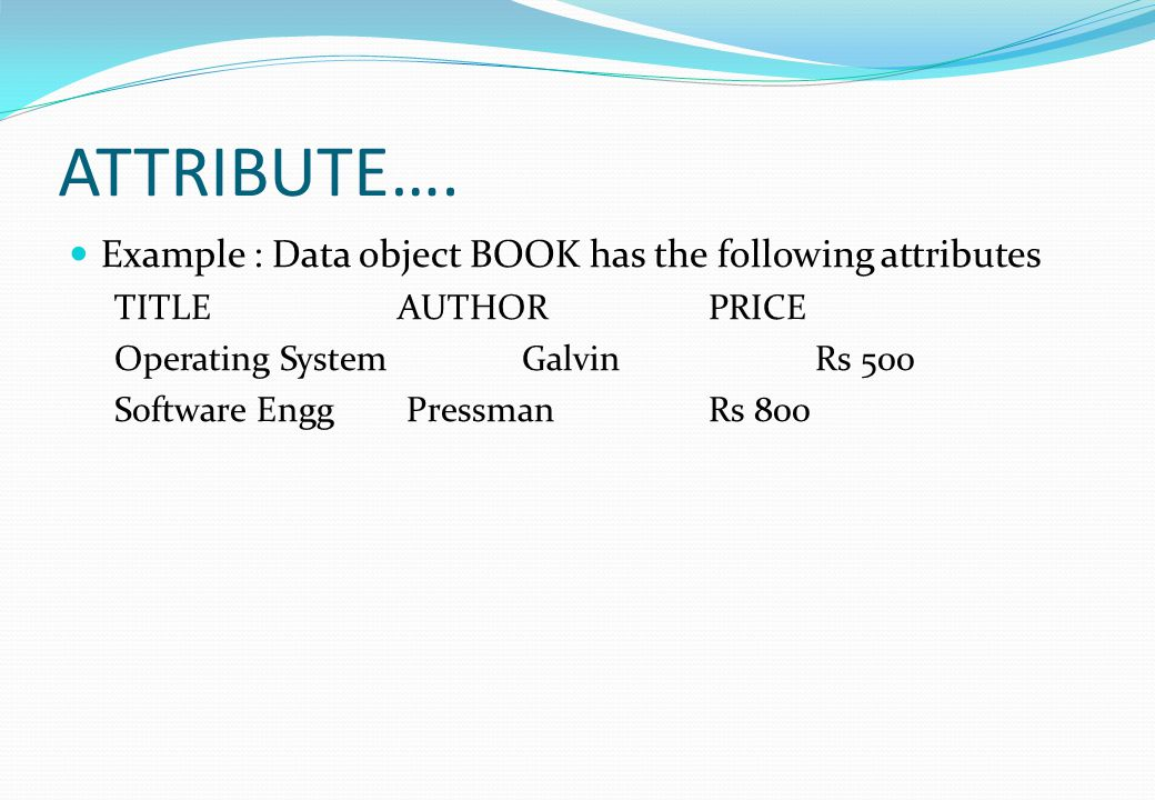 ATTRIBUTE…. Example : Data object BOOK has the following attributes