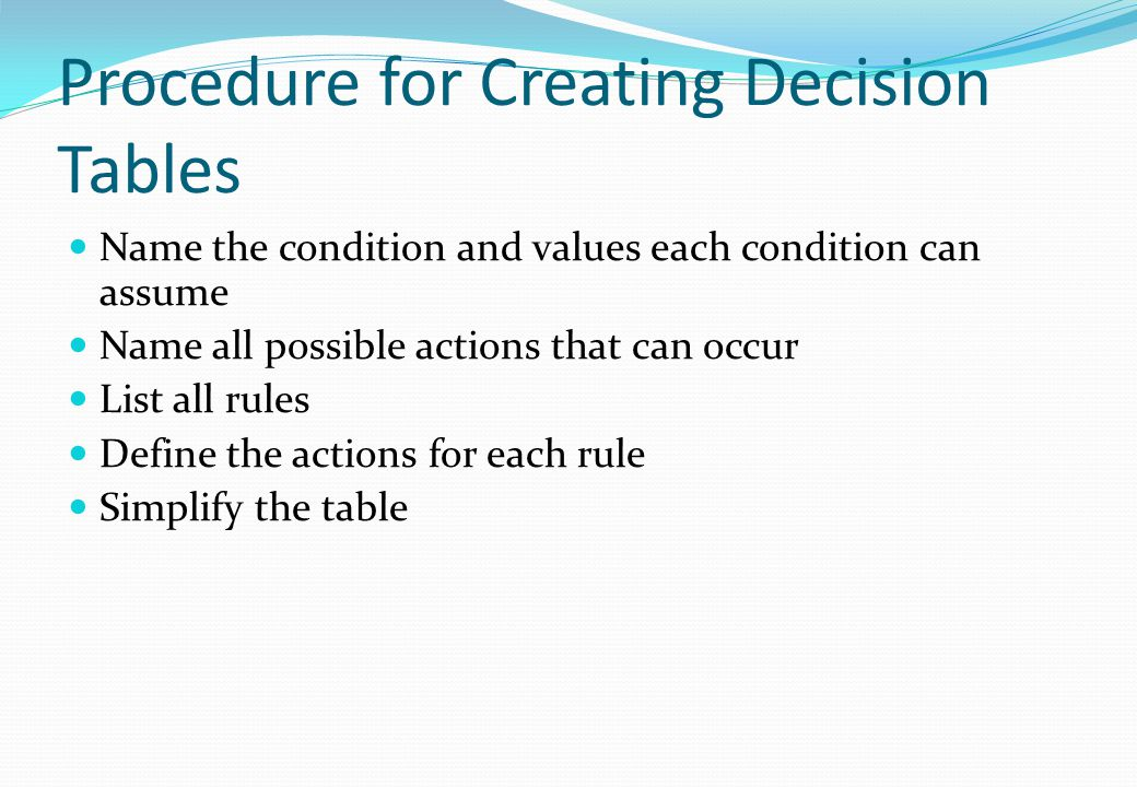 Procedure for Creating Decision Tables