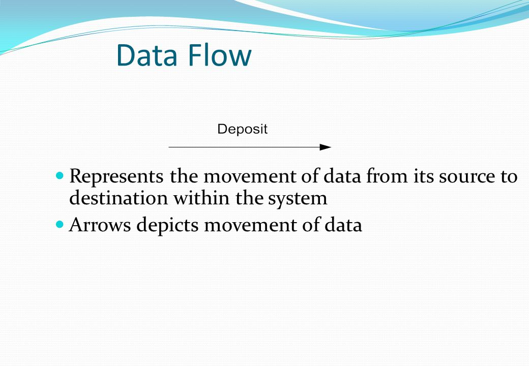 Data Flow Represents the movement of data from its source to destination within the system.