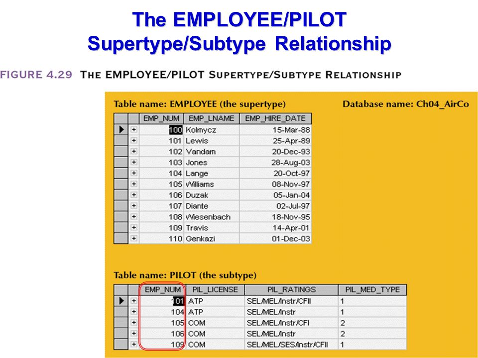 The EMPLOYEE/PILOT Supertype/Subtype Relationship