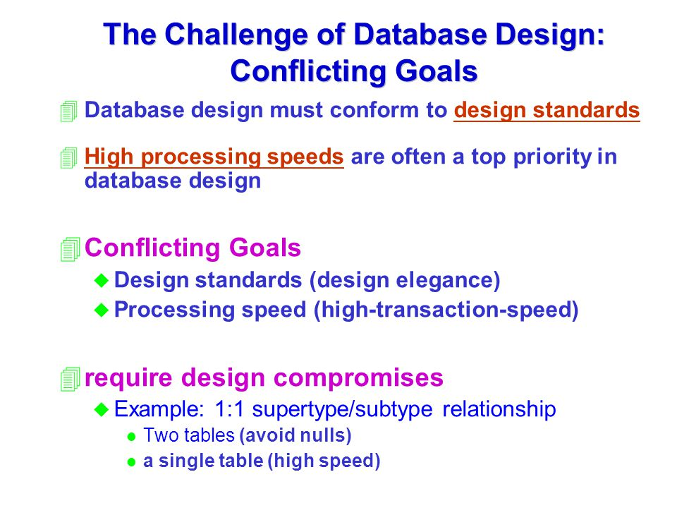 The Challenge of Database Design: Conflicting Goals