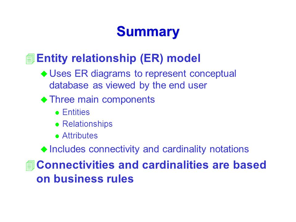 Summary Entity relationship (ER) model