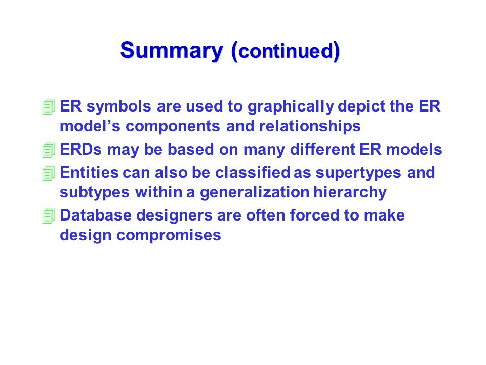 Summary (continued) ER symbols are used to graphically depict the ER model's components and relationships.