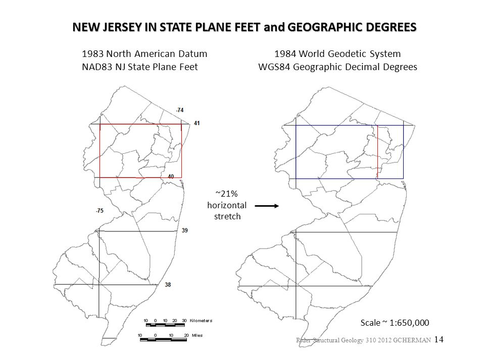 NEW JERSEY IN STATE PLANE FEET and GEOGRAPHIC DEGREES