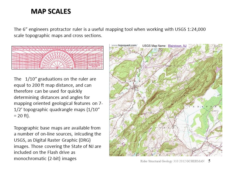 MAP SCALES The 6 engineers protractor ruler is a useful mapping tool when working with USGS 1:24,000 scale topographic maps and cross sections.