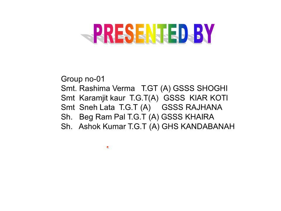 PRESENTED BY Group no-01. Smt. Rashima Verma T.GT (A) GSSS SHOGHI. Smt Karamjit kaur T.G.T(A) GSSS KIAR KOTI.