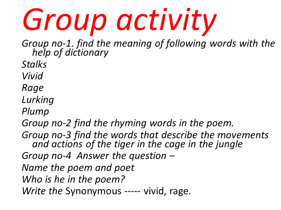 Group activity Group no-1. find the meaning of following words with the help of dictionary. Stalks.