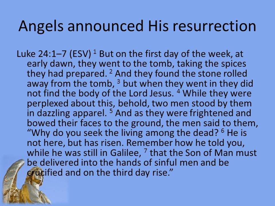 Angels announced His resurrection