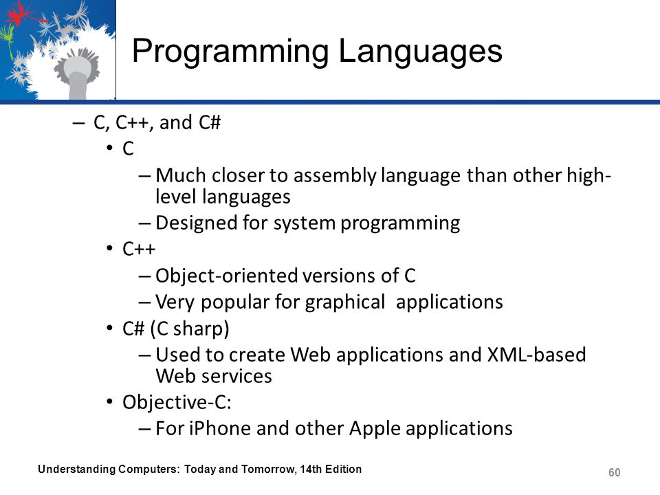 computer languages A programming language is a vocabulary and set of grammatical rules for instructing a computer to perform specific tasks.