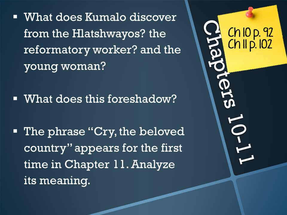 What does Kumalo discover from the Hlatshwayos. the reformatory worker