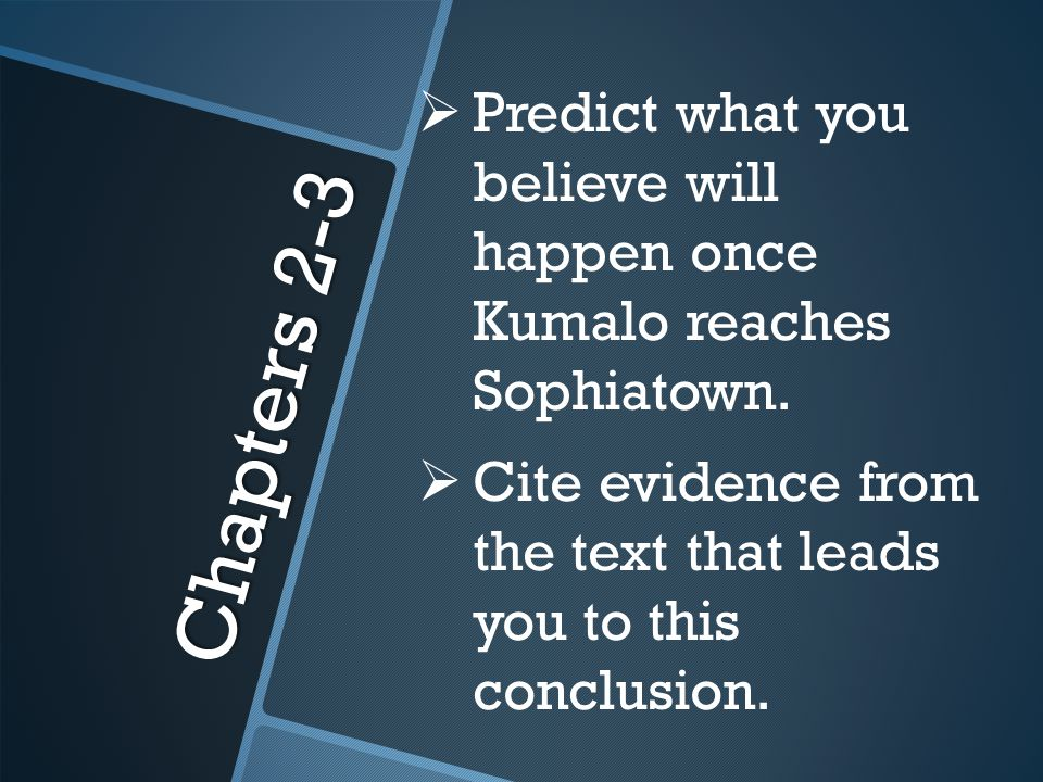 Predict what you believe will happen once Kumalo reaches Sophiatown.