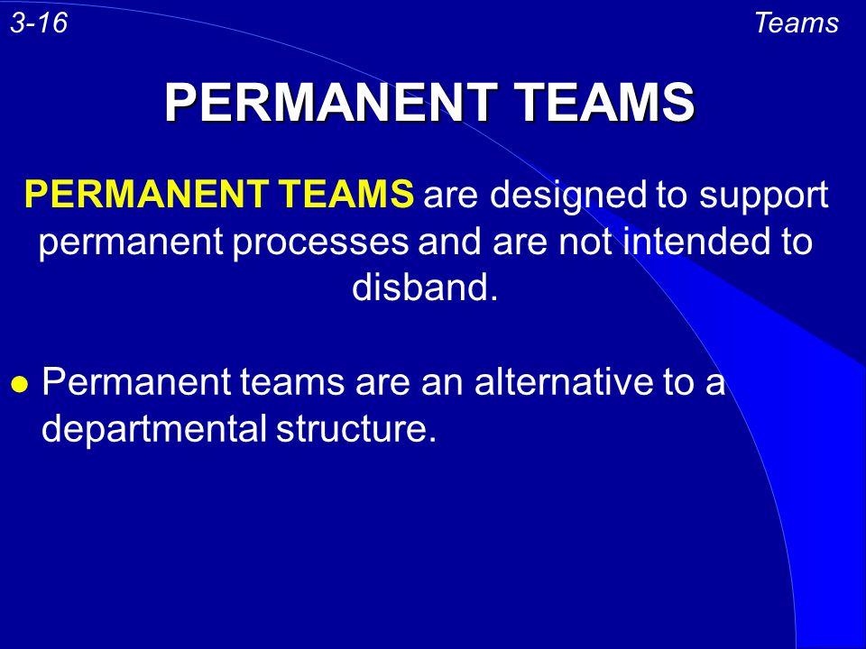 3-16 Teams. PERMANENT TEAMS. PERMANENT TEAMS are designed to support permanent processes and are not intended to disband.