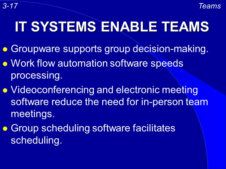IT SYSTEMS ENABLE TEAMS