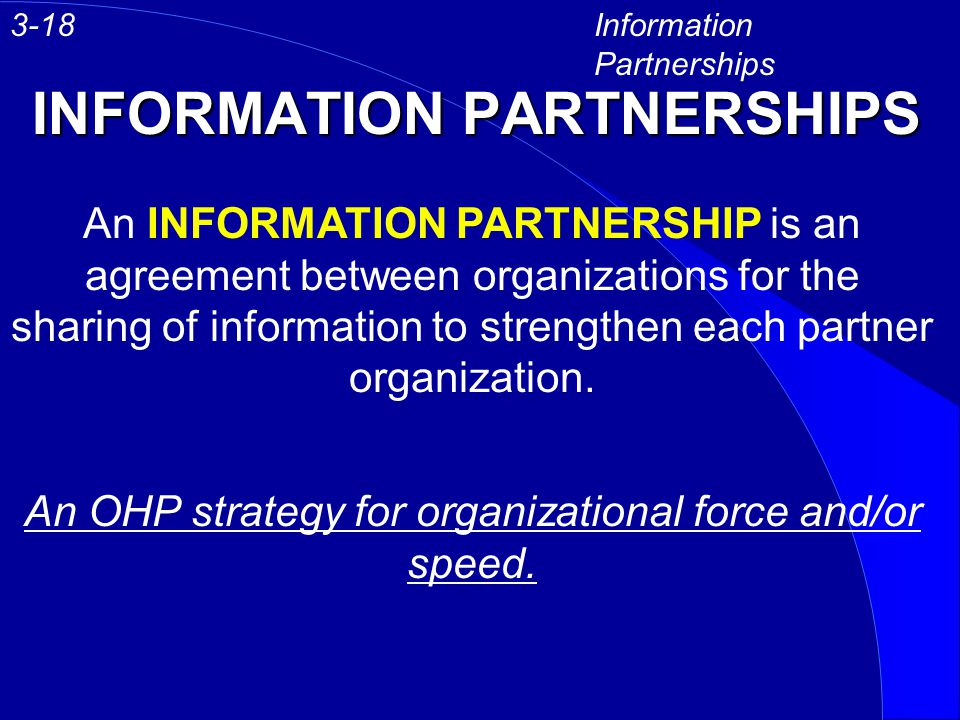 INFORMATION PARTNERSHIPS