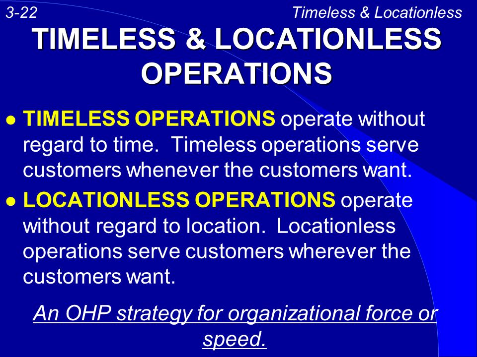 TIMELESS & LOCATIONLESS OPERATIONS