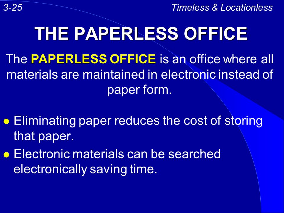 3-25 Timeless & Locationless. THE PAPERLESS OFFICE.