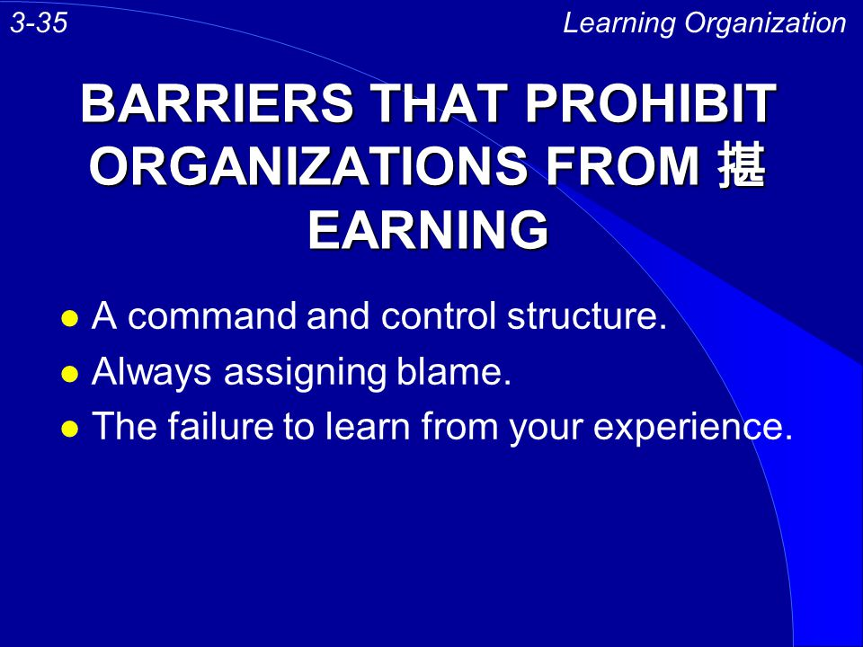 BARRIERS THAT PROHIBIT ORGANIZATIONS FROM 揕EARNING