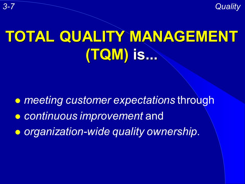 TOTAL QUALITY MANAGEMENT (TQM) is...
