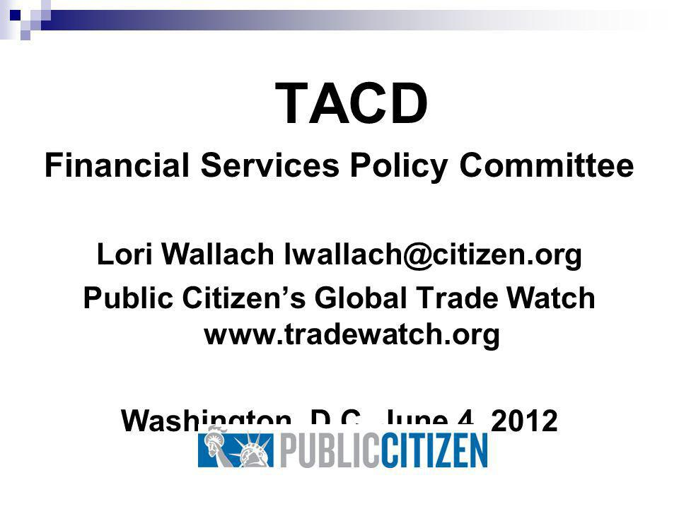 TACD Financial Services Policy Committee