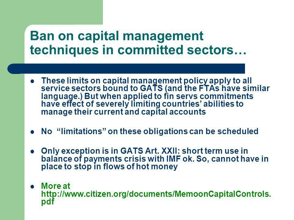 Ban on capital management techniques in committed sectors…
