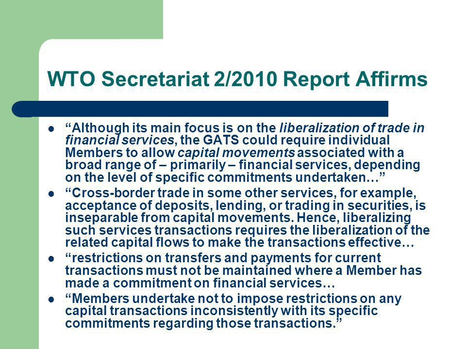 WTO Secretariat 2/2010 Report Affirms