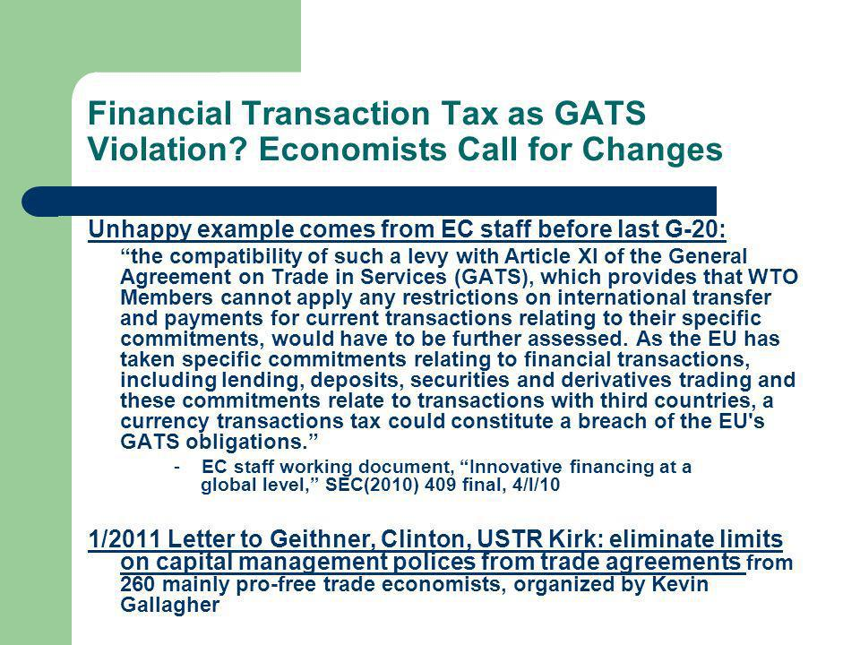 Financial Transaction Tax as GATS Violation