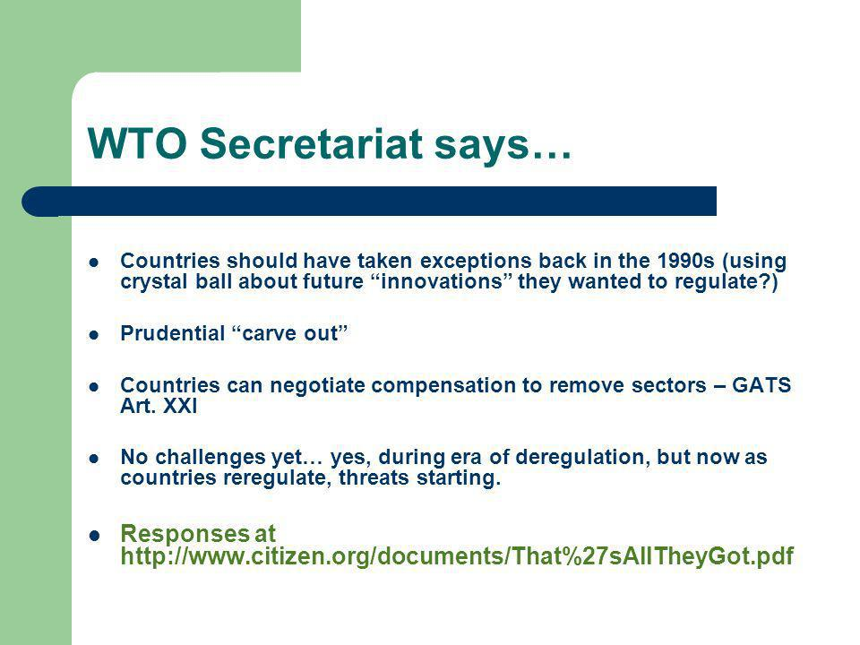 WTO Secretariat says…