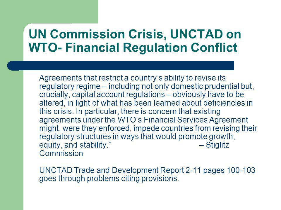 UN Commission Crisis, UNCTAD on WTO- Financial Regulation Conflict