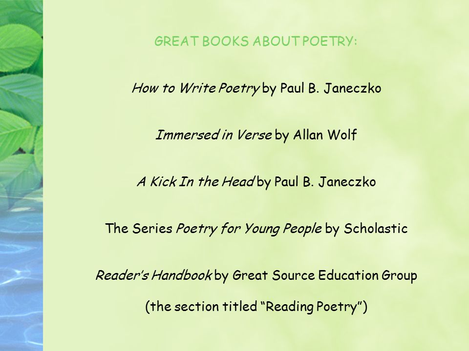 GREAT BOOKS ABOUT POETRY: