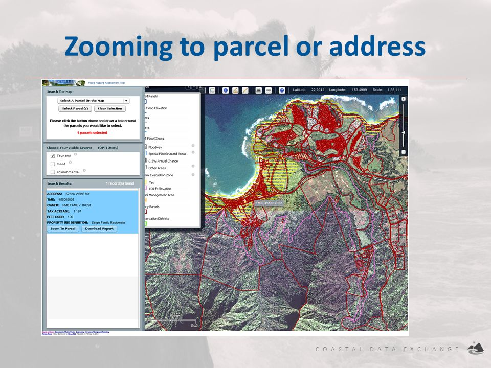 Zooming to parcel or address