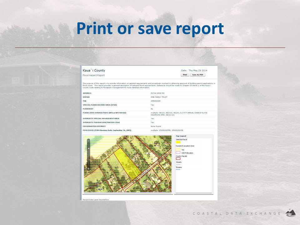 Print or save report User can view, print, or save report as a PDF.