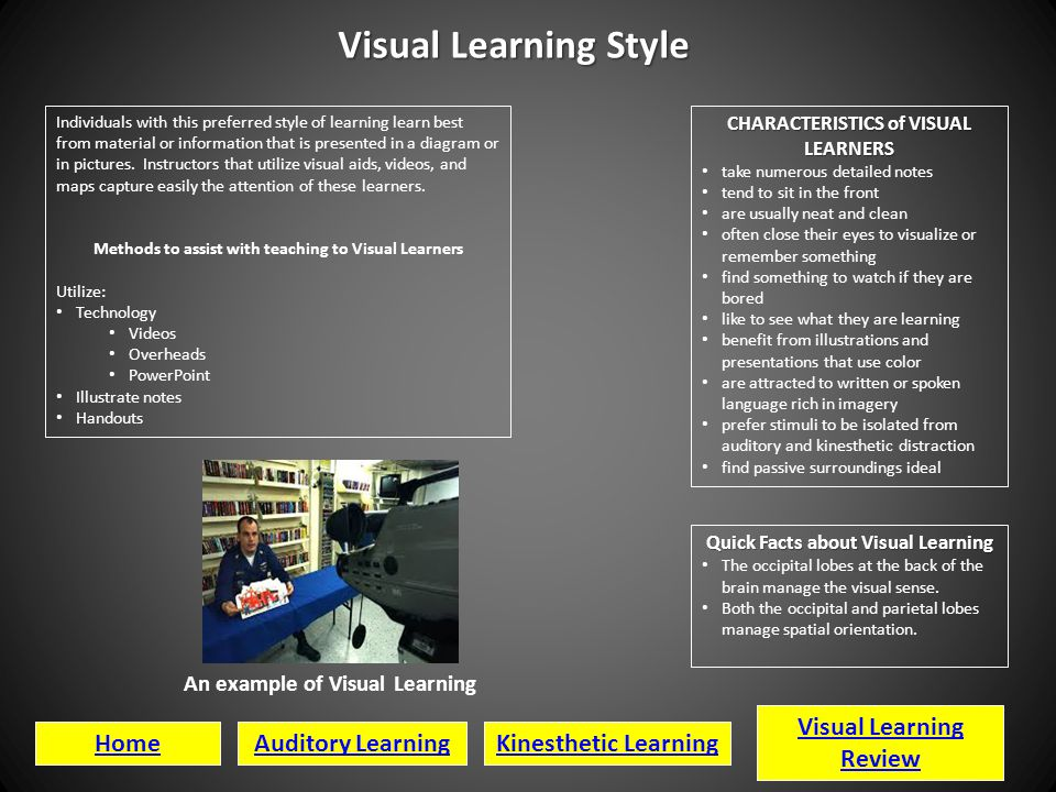 Visual Learning Style Visual Learning Review Home Auditory Learning
