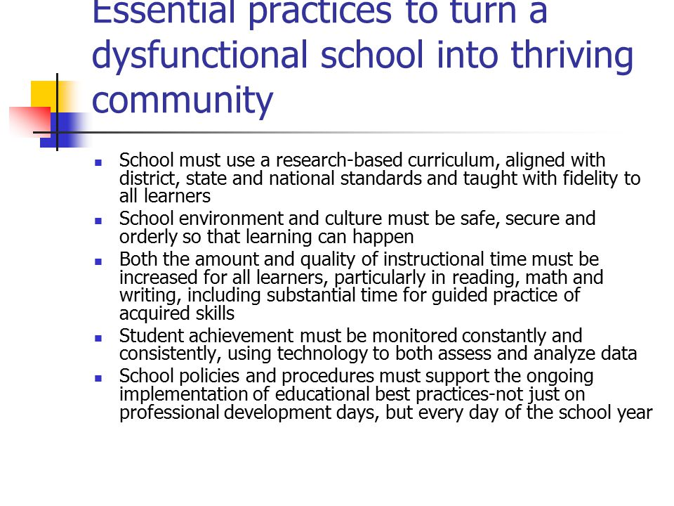 Essential practices to turn a dysfunctional school into thriving community