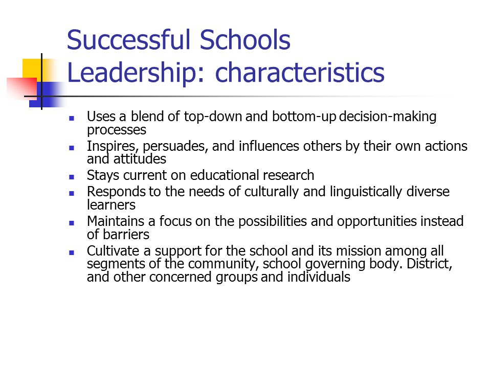 Successful Schools Leadership: characteristics