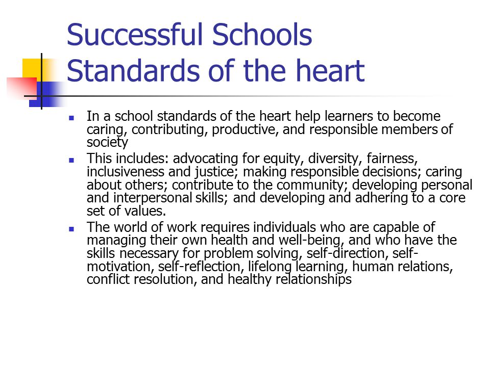 Successful Schools Standards of the heart
