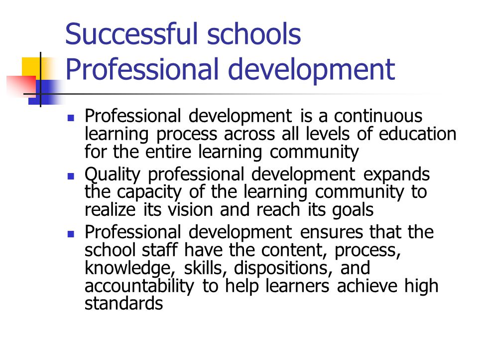 Successful schools Professional development