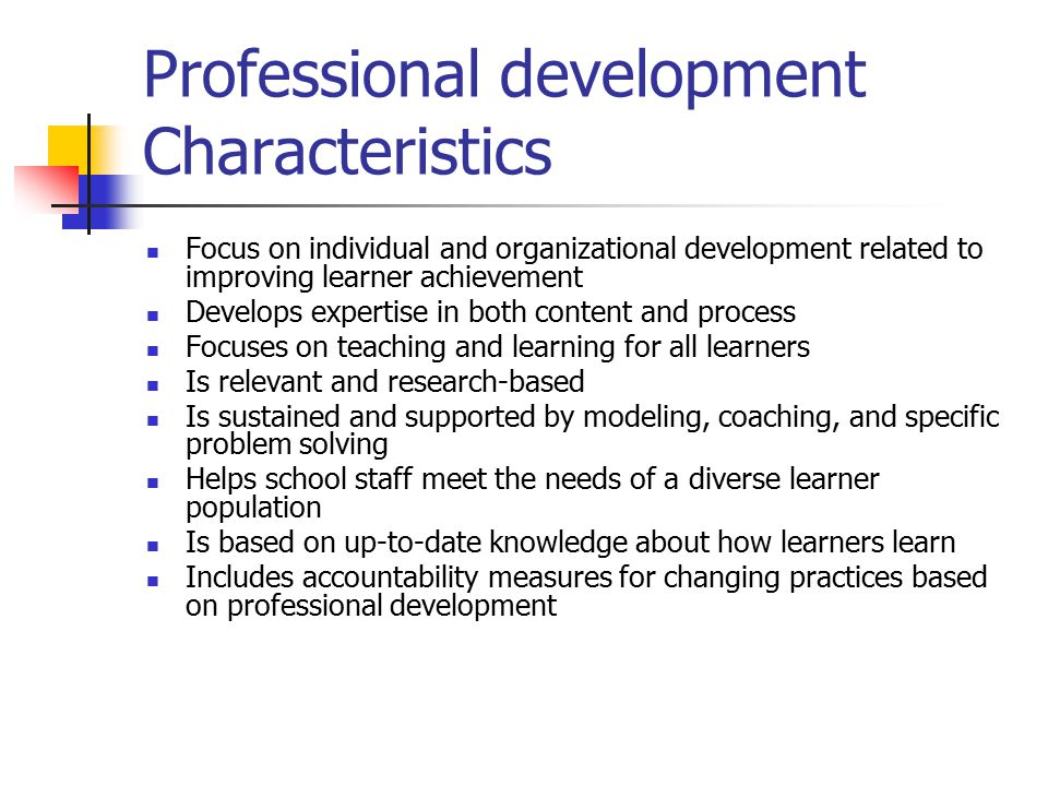 Professional development Characteristics