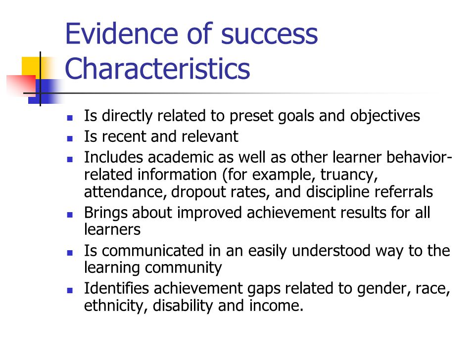 Evidence of success Characteristics