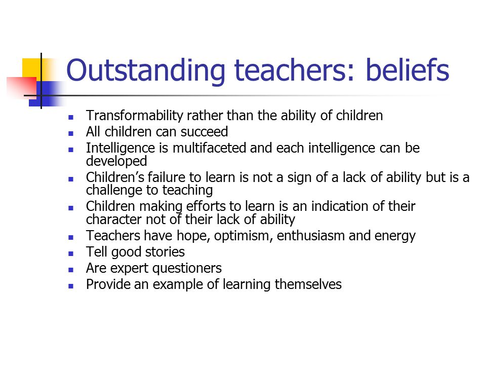 Outstanding teachers: beliefs
