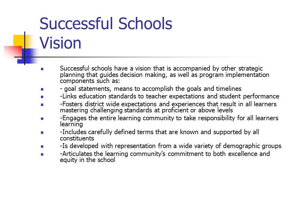 Successful Schools Vision