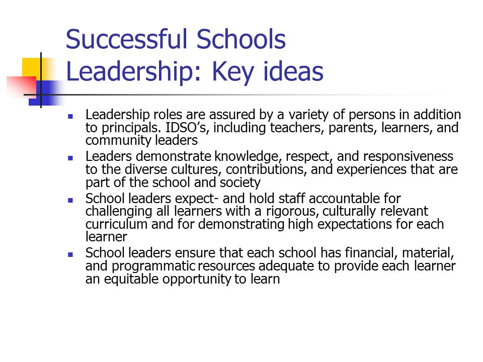 Successful Schools Leadership: Key ideas