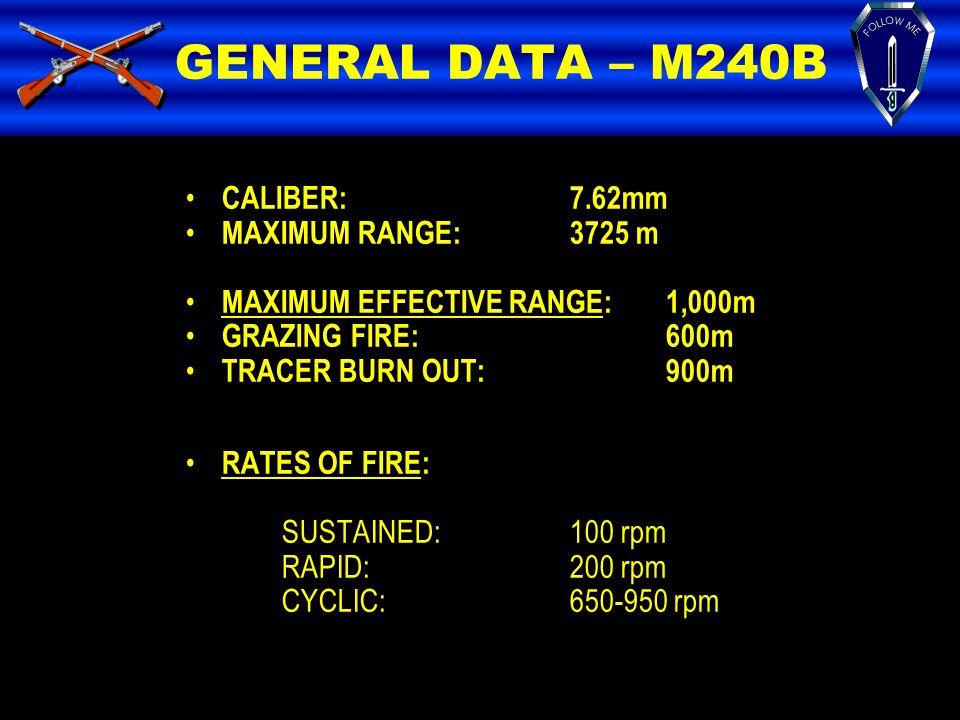 GENERAL DATA – M240B CALIBER: 7.62mm MAXIMUM RANGE: 3725 m