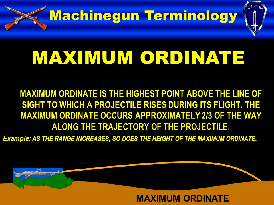 MAXIMUM ORDINATE Machinegun Terminology