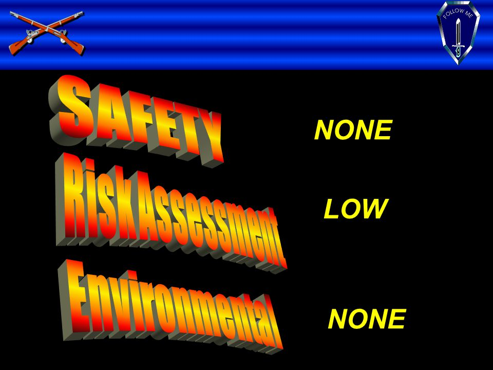 SAFETY Risk Assessment Environmental NONE LOW