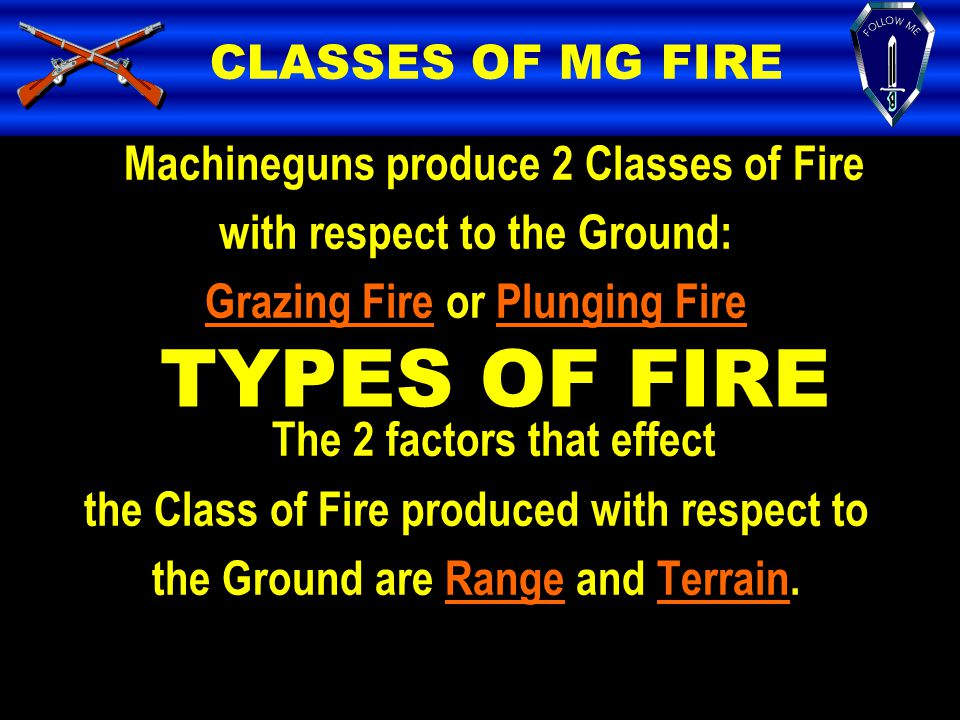TYPES OF FIRE CLASSES OF MG FIRE Machineguns produce 2 Classes of Fire