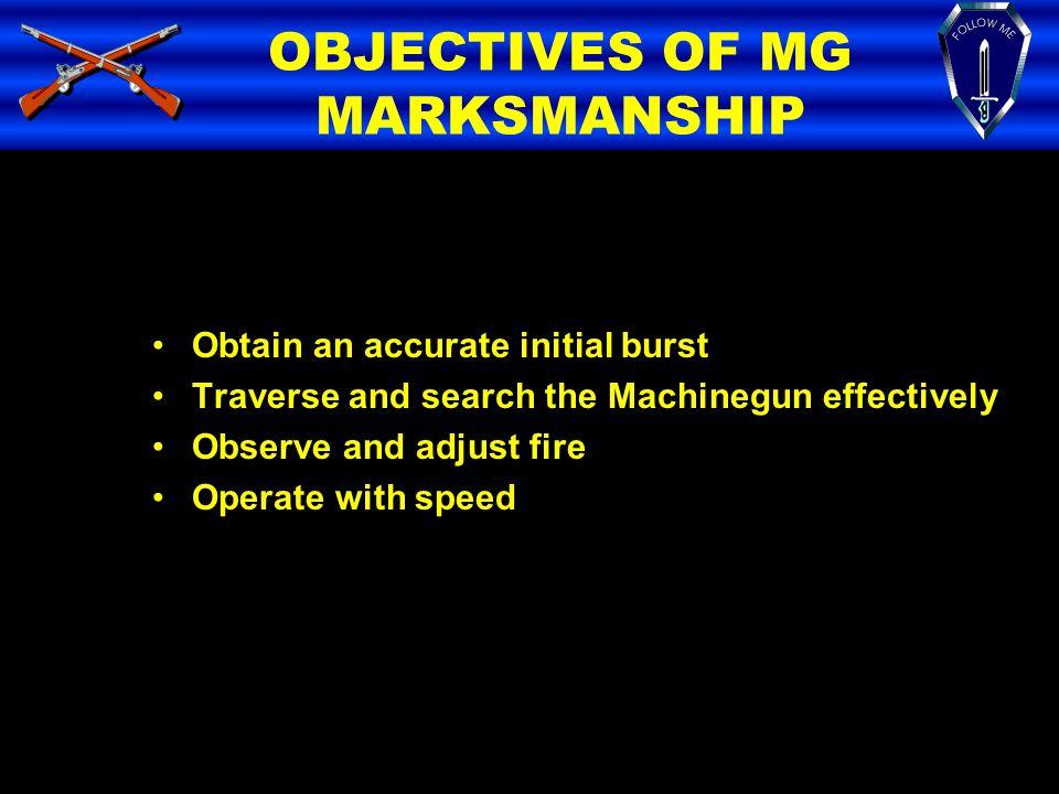 OBJECTIVES OF MG MARKSMANSHIP