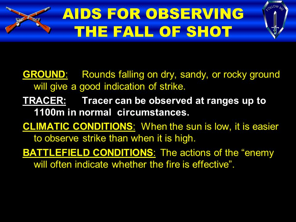 AIDS FOR OBSERVING THE FALL OF SHOT