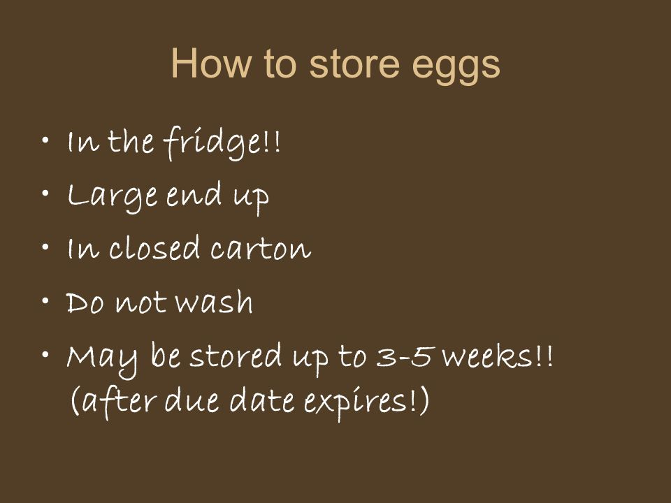 How to store eggs In the fridge!! Large end up In closed carton