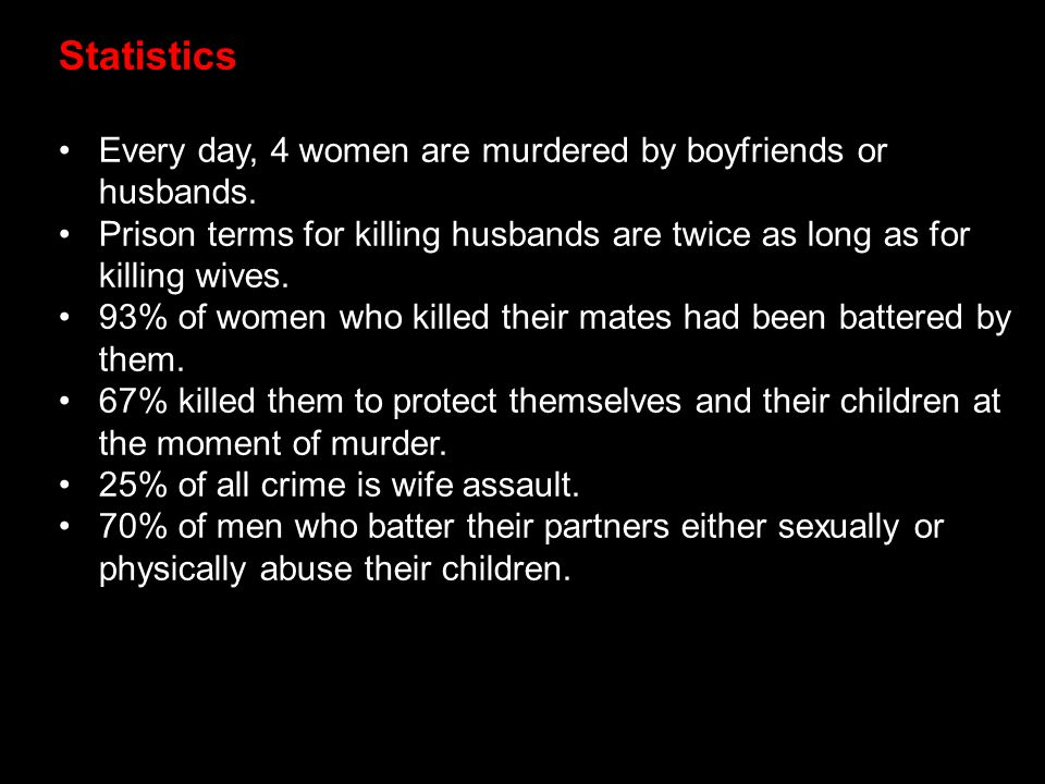 Statistics Every day, 4 women are murdered by boyfriends or husbands.